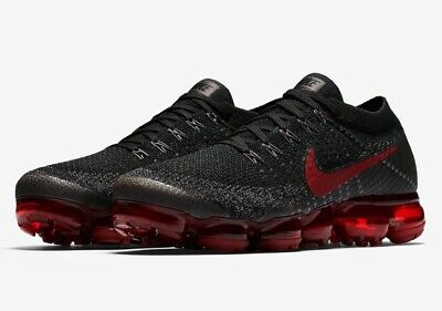Men's Nike Air VaporMax Flyknit Bred Black/Dark Team Red 849558-013 Size 10.5 US