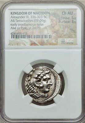 KINGDOM OF MACEDON Alexander the Great III AR Tetradrachm 336-323 BC NGC CH AU