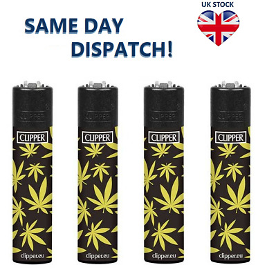 4x CLIPPER LIGHTERS GOLDEN LEAVES Weed Design Original Size Gas Flint Refillable