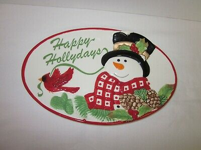 Fitz and Floyd Happy Hollydays - Snowman and Red Bird oval platter Christmas