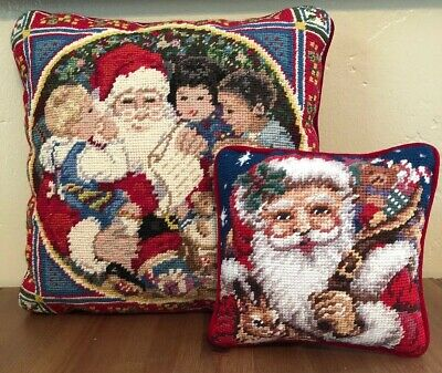 "Needlepoint Santa Claus with Children Pillow 13""x13"" Christmas Holiday Lot 2"