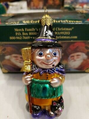 "Merck Family's Old World Christmas Witch & Broom Ornament.4"" H,Tag,Original Box"