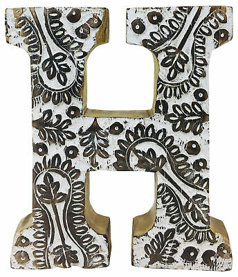 H Hand Carved Large Wooden Ornament Letters Free Standing Antique Style