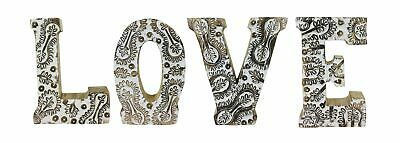 Shabby Chic Antique Style Solid Wooden Initials Hand Carved Alphabet Names Love