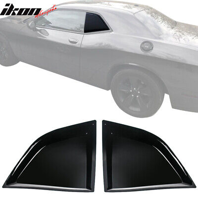 Fits 08-20 Dodge Challenger XE Style Gloss Black Window Louvers Scoops 2Pc Set