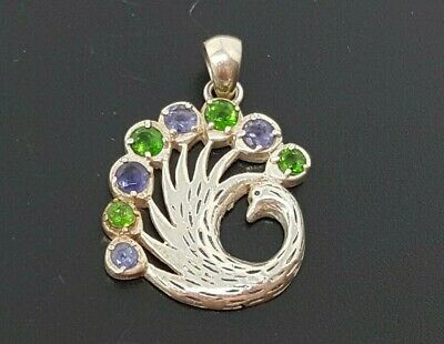 Vintage Sterling Silver Peacock Pendant Blue Green CZ