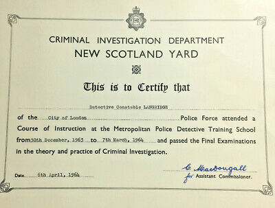 1964 Police Criminal Investigation Dept New Scotland Yard Certificate