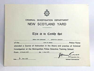 1973 Police Criminal Investigation Dept New Scotland Yard Certificate