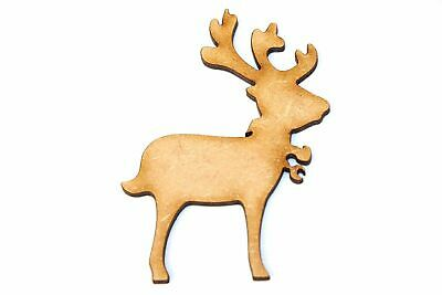 Wooden MDF Standing Xmas Reindeer Shape Bunting Craft Embellishments Decorations
