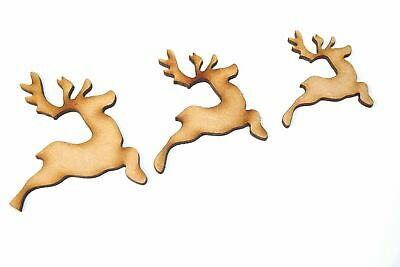 Wooden MDF Flying Xmas Reindeer Shape Bunting Craft Embellishments Decorations