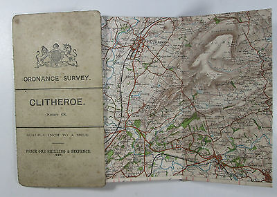 1903 Old Antique OS Ordnance Survey New Series one-inch map Sheet 68 Clitheroe