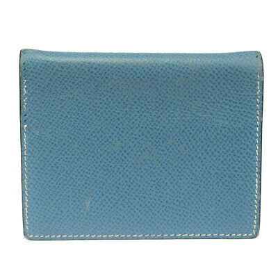 Authentic HERMES Mini Agenda Day Planner Note Book Cover Leather Blue 07BK068