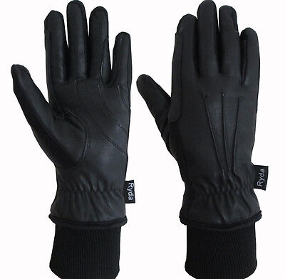 Ryda Premium Leather Ladies Fully Lined Winter Horse Riding Gloves Black Brown