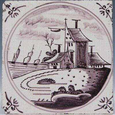Nice Dutch Delft Manganese tile, landscape with house and ships, 18th. century.