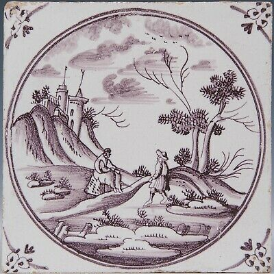 Nice Dutch Delft manganese tile, figures in landscape with castle 18th. century