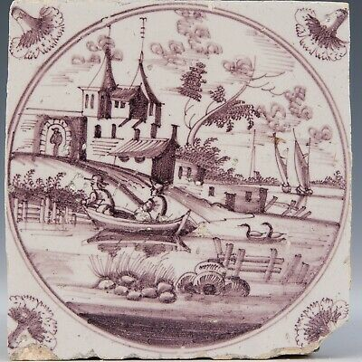 Nice Dutch Delft manganese tile, figures in boat, castle, ships, 18th. century