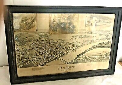 Rare Antique Birdseye View Map Of Newport, Perry County Pa 1895