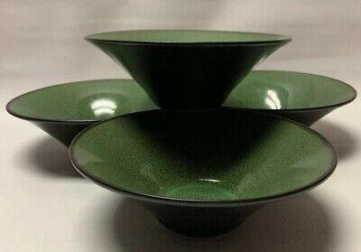 "4 Fusion Wasabi by Gabbay Soup Bowl Green Speckled Center Brown Gibson 7"" & 2.5"""