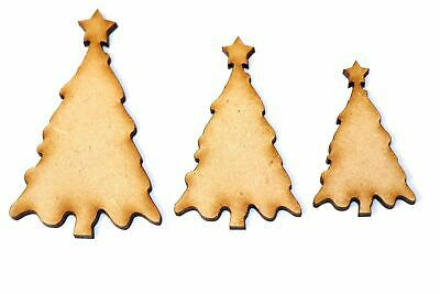 Wooden MDF Christmas Tree Shape Bunting Craft Embellishments Decoration Crafting