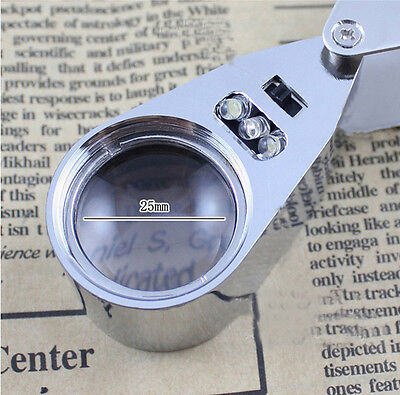 Neue LED Juweliere Pocket Lens 40X 25mm Lupe Lupe CxCx WR