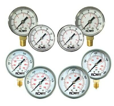Pressure Gauge Pneumatic/Hydraulic 15-14500 PSI (1-1000 Bar) 40,50,63,100mm Dial