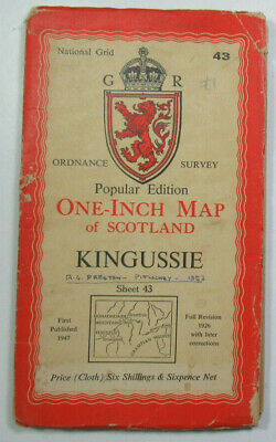 1947 Old OS Ordnance Survey Popular Edition One-Inch CLOTH Map 43 Kingussie