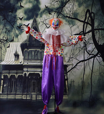 Life Size Animated Clown Haunted House Creepy Scary Halloween Decoration Prop