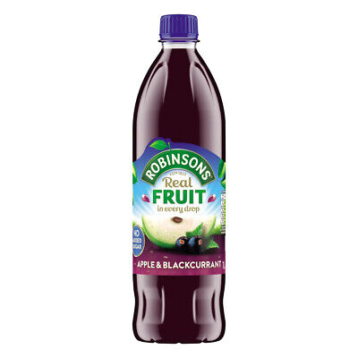 Robinsons No Added Sugar Apple & Blackcurrant Cordial Juice 1 Litre  6 - 24 Pack