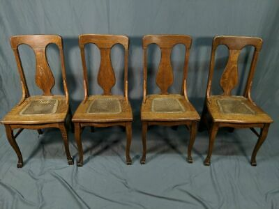 Fine Set Of 4 Solid Tiger Oak Antique Dining T Back Chairs Cane Cjindustries Chair Design For Home Cjindustriesco
