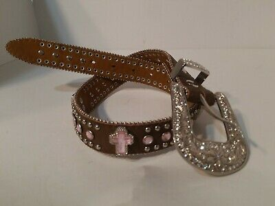 Nocona Girls Size 22 Brown Leather Rhinestone Pink Heart Studded Belt