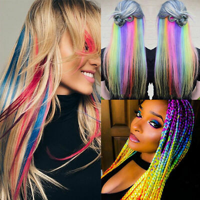 """22"""" Hair Extensions 32 Coloured XMAS Party Highlight Clip In Multi Colors Girls"""