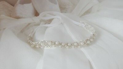 Baby hair band, rhinestone tiara headband for christening baptism UK handmade