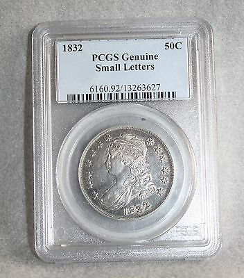 1832 Capped Bust Half Dollar Graded By PCGS Genuine Small Letters
