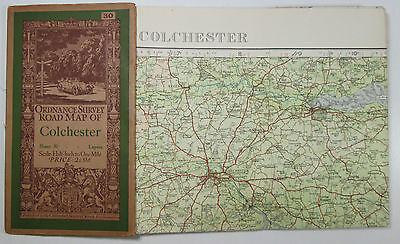 1932 old vintage OS Ordnance Survey half-inch map 30 Colchester - Layers