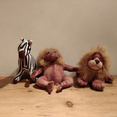 Vintage 1995 Stuffins Animal Plush Toy Collection Lion Zebra And Monkey