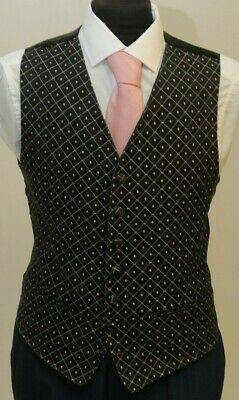 W 1065 Mens/Boys Black With Gold Detail Waistcoat Formal/Evening/Prom/Wedding