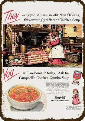 1950 CAMPBELL'S CHICKEN GUMBO & BLACK AMERICANA Vintage Look REPLICA METAL SIGN