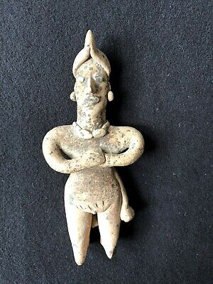 Pre-Columbian Colima Standing Flat Figure 100 BC - 250 AD, solid clay.  NICE!