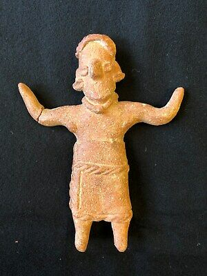 Pre-Columbian Michoacan Standing Female Flat Figure, 400 - 100 BC, Solid Clay.