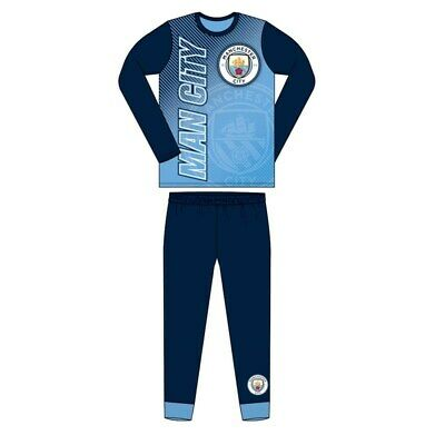 Boys Official Manchester City FC Pyjamas Size Age 4-12 Years Man City Blue NEW