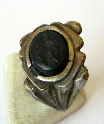 Outstanding Roman Style Glass Intaglio Gem Ring With God Artemis # 859