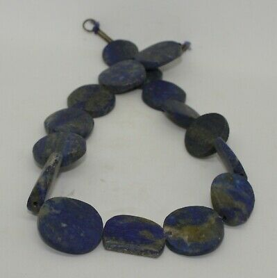 Large Ancient Carved Lapis Bead Necklace - 554