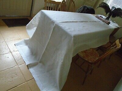 Large Vintage Hand Embroidered Irish Linen Refectory Tablecloth / Bedcover
