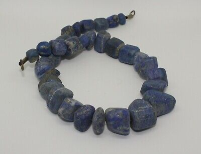 Large Ancient Carved Lapis Bead Necklace - 241