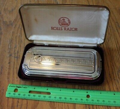 Rolls Razor Safety Self Sharpen Super Hollow Ground Sheffield Steel Case Vintage