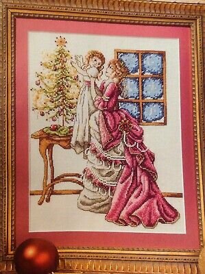 (X7) Victorian Xmas Tree Mother Child Scene Christmas Cross Stitch Chart