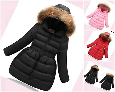Coat Girls Winter Jacket Hooded Parka Quilted Padded Faux Fur School Age 4-10 yr