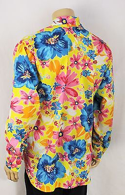 Mens Vtg 70s Style Funky Party Stag Crazy Fresh Prince Dagger Collar Shirt Med