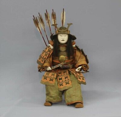Japanese Antique Armed Samurai Large Gohun Doll Yoshitsune, Around 1750 Edo 17""