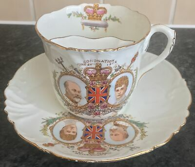 antique WILEMAN porcelain 1902 KING EDWARD VII CORONATION MOUSTACHE CUP & SAUCER